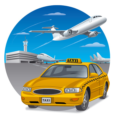 illustration of taxi sedan car in airport for passengers