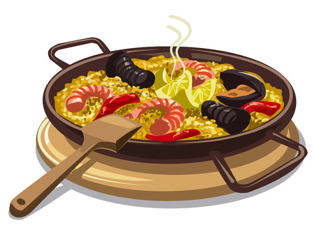 cooked rice: illustration of traditional spanish food paella on oan Illustration