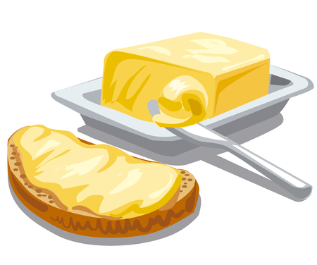 bread and butter: illustration of spreading butter on sliced bread