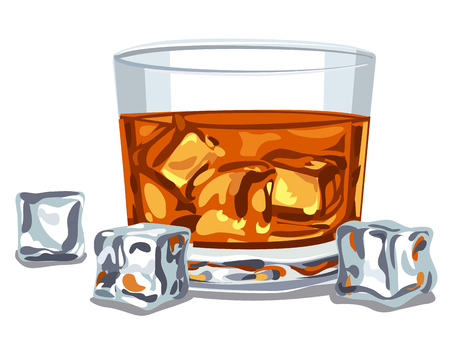 bourbon whisky: illustration of glass of whiskey with ice cubes Illustration