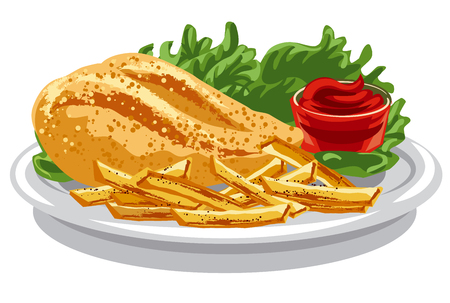 illustration of grilled chicken breast with fries and tomato sauce Illustration
