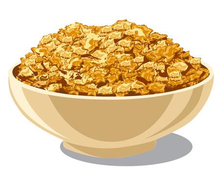 cereales: ilustración de copos de maíz en un tazón