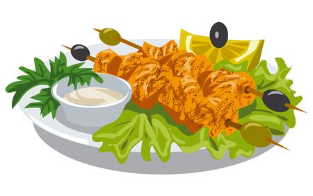 pollo a la brasa: ilustración de kebab de pollo con salsa Vectores
