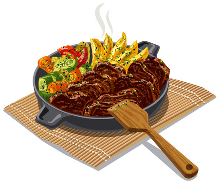 grill meat: illustration of roasted meat and vegetables
