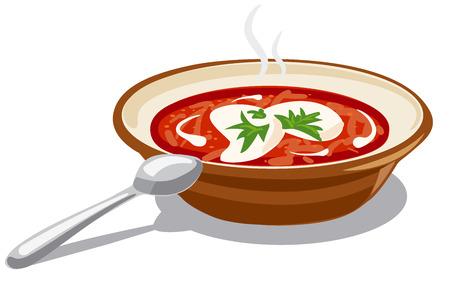 sour cream: illustration of soup borscht with sour cream Illustration