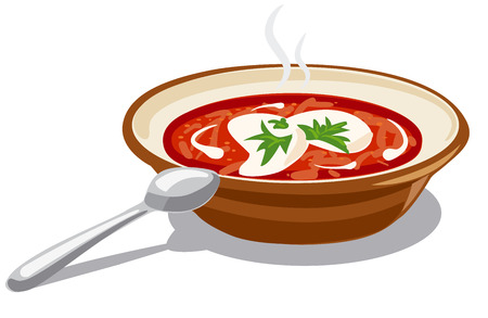 illustration of soup borscht with sour cream Illustration