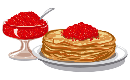 salmon dinner: illustration of red salmon caviar with baked pancakes on plate