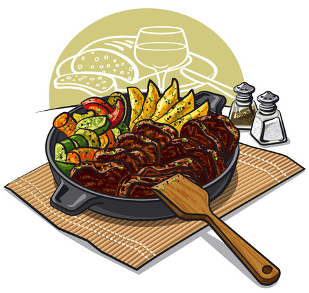 dinner: illustration of dinner with roasted meat and vegetables in pan