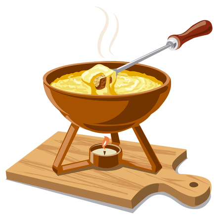 dipped: illustration of hot cheese fondue