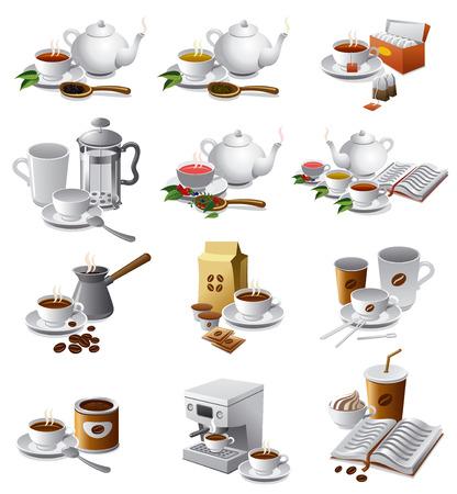 coffee icon: set of illustrations of coffee and tea drinks Illustration