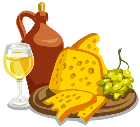 illustration of ceramic jug with wine, cheese and grapes