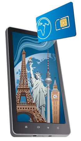 phone calls: concept illustration of global roaming phone calls