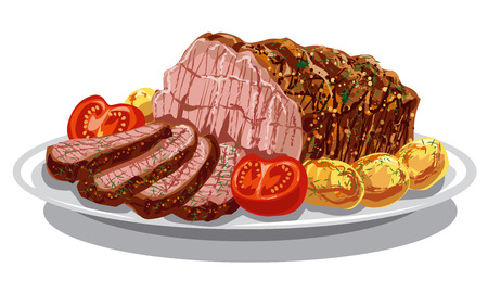 illustration of roastbeef with baked poatoes and tomatoes