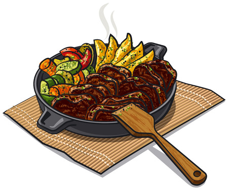 illustration of roasted meat and vegetables in pan