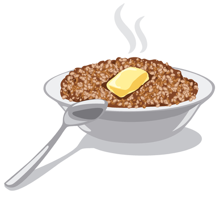 boiled: illustration of buckwheat porridge with butter in bowl Illustration