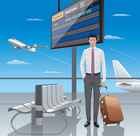 display: illustration of young man traveler in airport departure Illustration