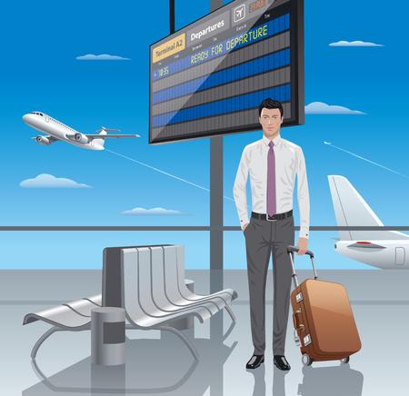 flight board: illustration of young man traveler in airport departure Illustration