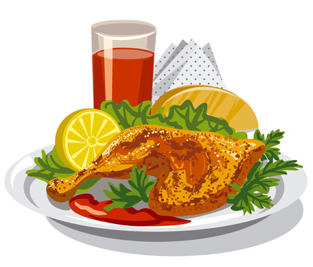 illustrazione di coscia di pollo arrosto con salsa di pomodoro e succo Vettoriali