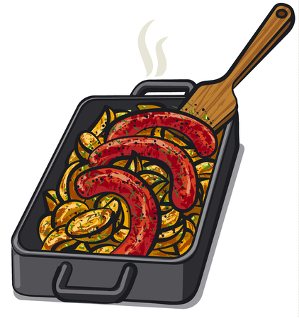 grilled: illustration of baked potato with grilled sausages