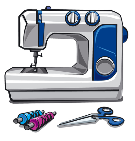 sewing: illustration of sewing machine, threads and scissors