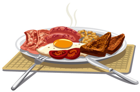 sausages: illustration of traditional english breakfast with fried eggs and bacon Illustration