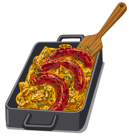 baked: illustration of baked poratoes with roasted sausages
