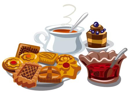 sugar cookies: illustration of cookie, jam and hot tea