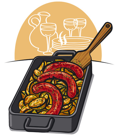 baked potato: illustration of baked potato with hot grilled sausages