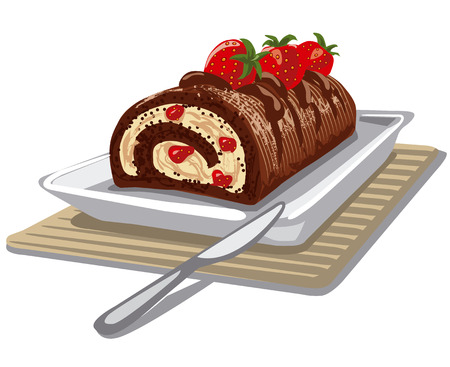 food dish: illustration of roll cake chocolate with strawberry