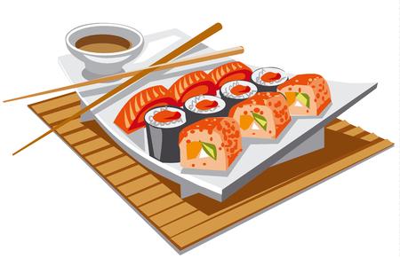 fresh salmon: illustration of japanese food sushi with soy sauce
