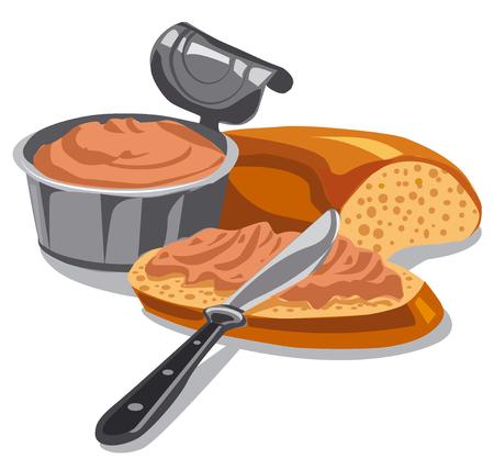 illustration of meat pate on sliced bread