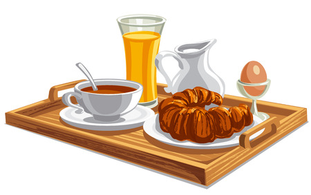 coffee and tea: illustration of morning breakfast on tray in hotel Illustration