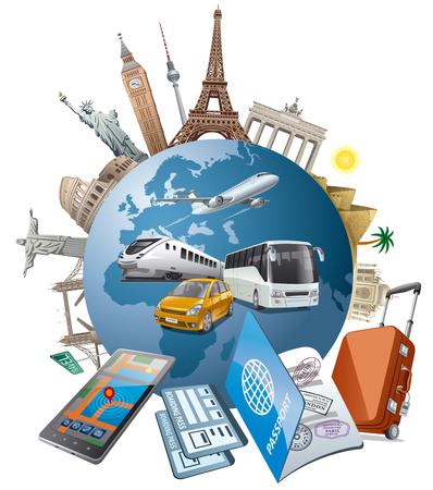 europa: Ilustración del concepto de viaje y viaje alrededor del mundo