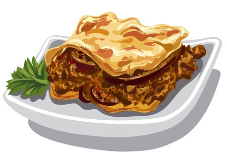 traditional illustration: illustration of traditional greek moussaka baked dish