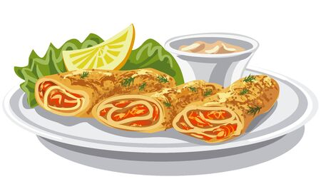 illustration of pancakes with salmon and sauce on plate Illustration