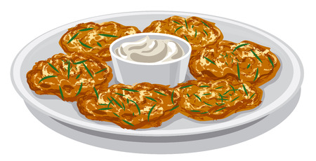 sour: illustration of potato pancakes with sour cream sauce