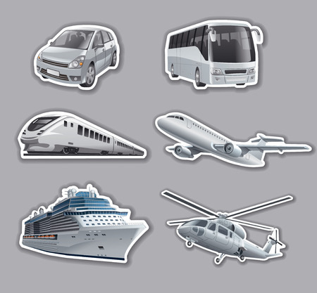 cruise ship: illustration of stickers of transport, car, train, bus, cruise ship, airplane and helicopter