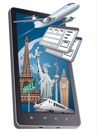 online service: concept illustration of online shop service for travel
