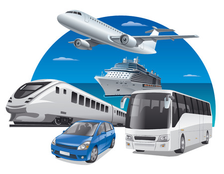 cruise ship: transport for travel, car, train, bus, cruiser and airplane