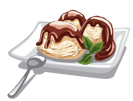 illustration of vanilla ice cream with chocolate syrup