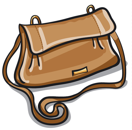 brown leather: illustration of woman personal modern brown leather bag