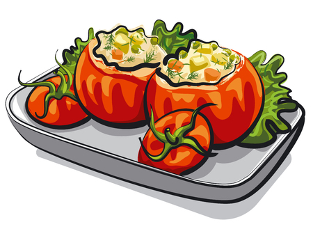 illustration of stuffed tomatoes with salad on plate