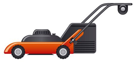 illustration of modern red lawn mower