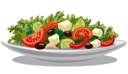 Ilustracja świeżego Sałatka grecka z sałaty, pomidorów i oliwek
