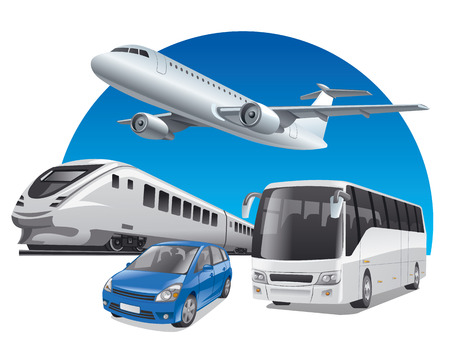 illustration of transport for travel, car, train, bus and airplane Stock Illustratie