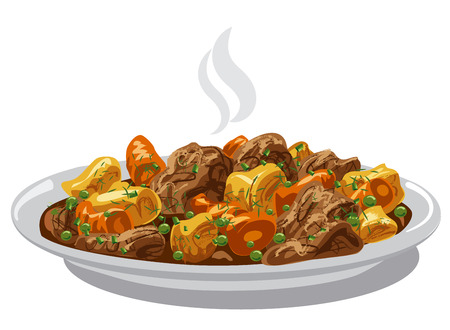 goulash: illustration of beef stew meat dish on plate