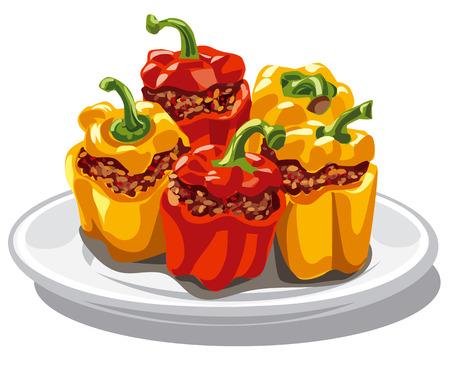 illustratie van gevulde gehakt paprika Vector Illustratie