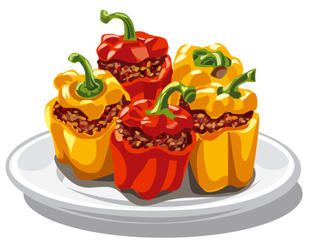 Illustration von ausgestopften gehackten Paprika Standard-Bild - 67739148