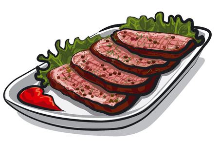 steak plate: illustration of sliced roast beef with tomato sauce and lettuce