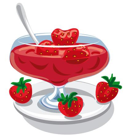 marmalade: illustration of strawberry jam in jar